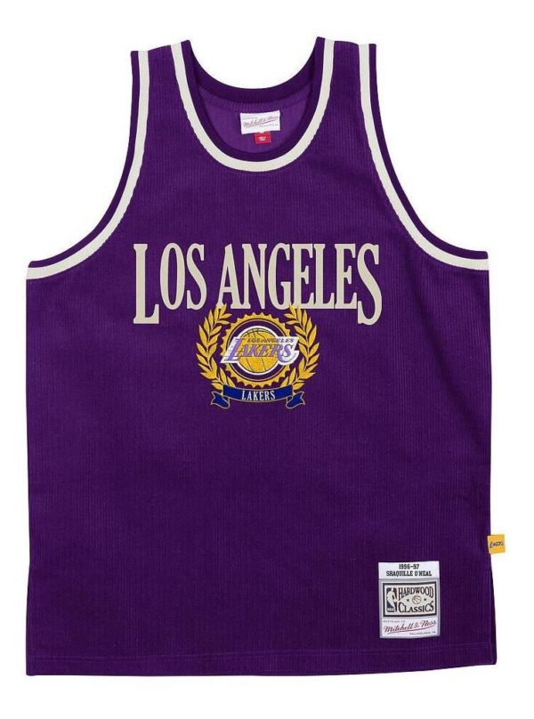 POLERA TANK HOMBRE MITCHELL AND NESS LOS ANGELES LACKERS MORADO