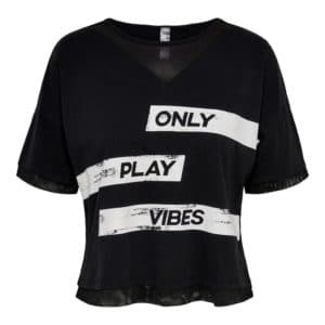 POLERA MUJER ONLY PLAY METTA LIFE SS NEGRO